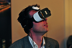 - Innovations at IMEX: An attendee takes a virtual trip during Association day.