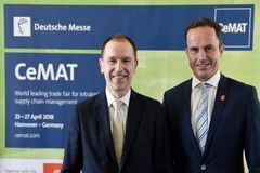 - (l-r) Dr. Klaus-Dieter Rosenbach and Dr. Jochen Köckler at CeMAT Press Conference on 26 April 2017 in Hannover.